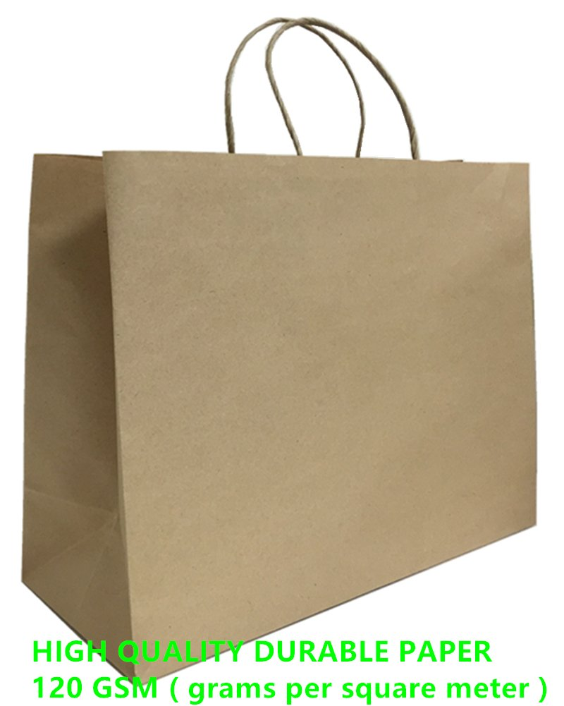 Mistmo 16''X6''X12'' Inch Kraft Paper Bags with Handles, Self-Standing Reusable Gift & Shopping Bags, Pack of 50PC, Brown Bags