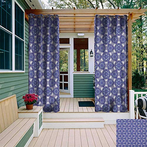 leinuoyi Indigo, Outdoor Curtain Set, Ethnic Oriental Design with Flower Leaves Rectangular Shaped Image, Outdoor Curtain Panels for Patio Waterproof W108 x L108 Inch White Dark Blue and Sky Blue ()