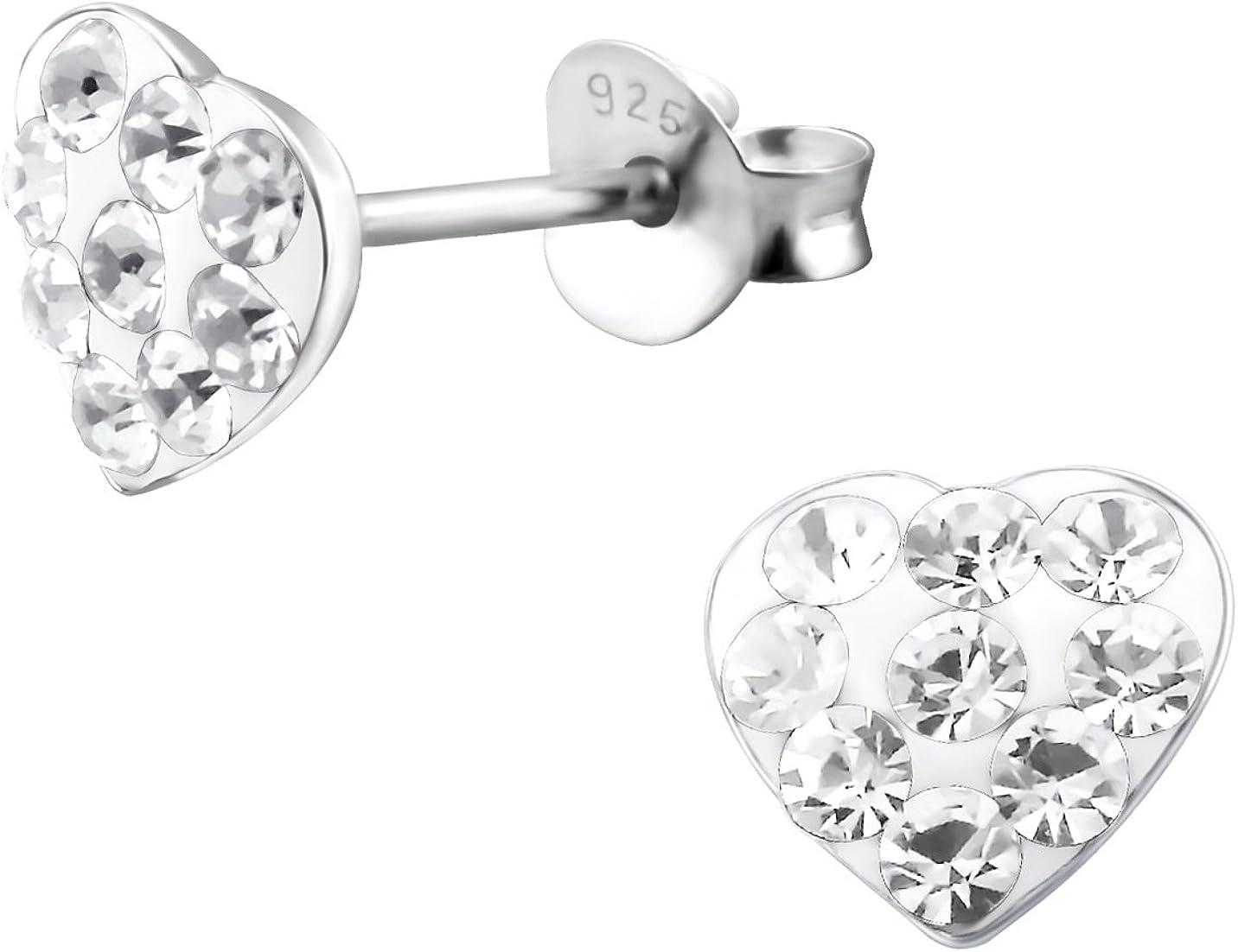 Katy Craig de corazón de plata de ley Cristal austríaco transparente Juego de pendientes de tuerca con gemas