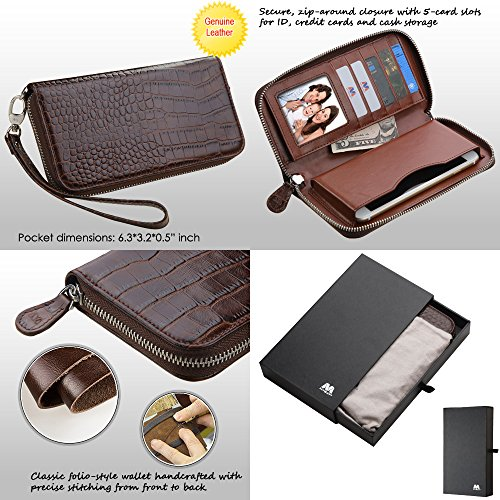 Wallet+Stylus mybat Universal Crocodile-Embossed Fits LG HTC Motorola Genuine/Real Leather MyJacket Purse/Case/Clutch/Pouch - Zipper Brown. Compatible Models: