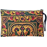 Sabai Jai Embroidered Ethnic Clutch Wristlet Purse for Women's Boho Handbag Flower Bag for Girls Handmade (Gold/Ivy)