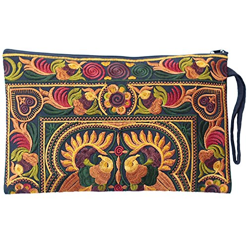 Sabai Jai Embroidered Ethnic Clutch Wristlet Purse for Women's Boho Handbag Flower Bag for Girls Handmade (Gold/Ivy) by Sabai Jai