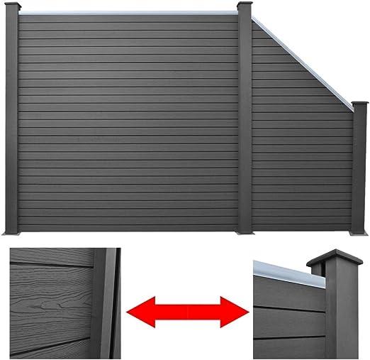 Set panel de valla de WPC para jardín, 1 cuadrado + 1 diagonal, gris, 297 cm: Amazon.es: Hogar