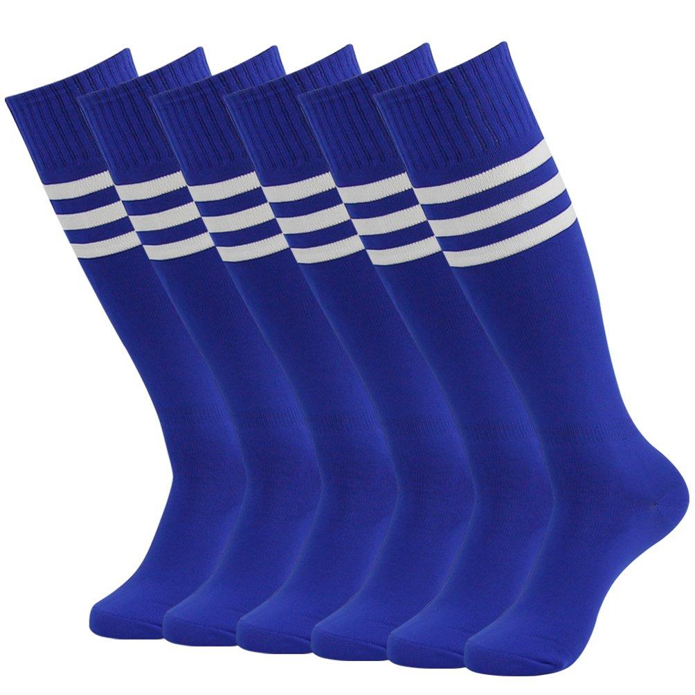 J'colour Soccer Tube Socks, Unisex Over Calf Team Athletic Performance Socks for Football Baseball 6 Pairs Blue&White Stripe by J'colour