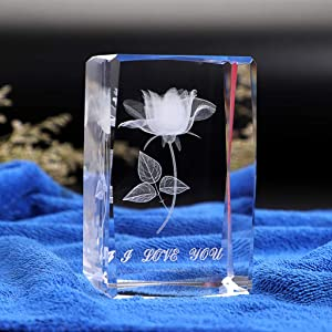 OwnMy Crystal Glass 3D Laser Cube Model Engraving Figurines, Crystal Rose Paperweight Glass Centerpieces Decoration with Gift Box for Home Office Wedding Souvenirs Decor Gift