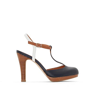 7855cc3602 La Redoute Collections Womens Leather Platform T-Bar Shoes: Amazon.co.uk:  Shoes & Bags