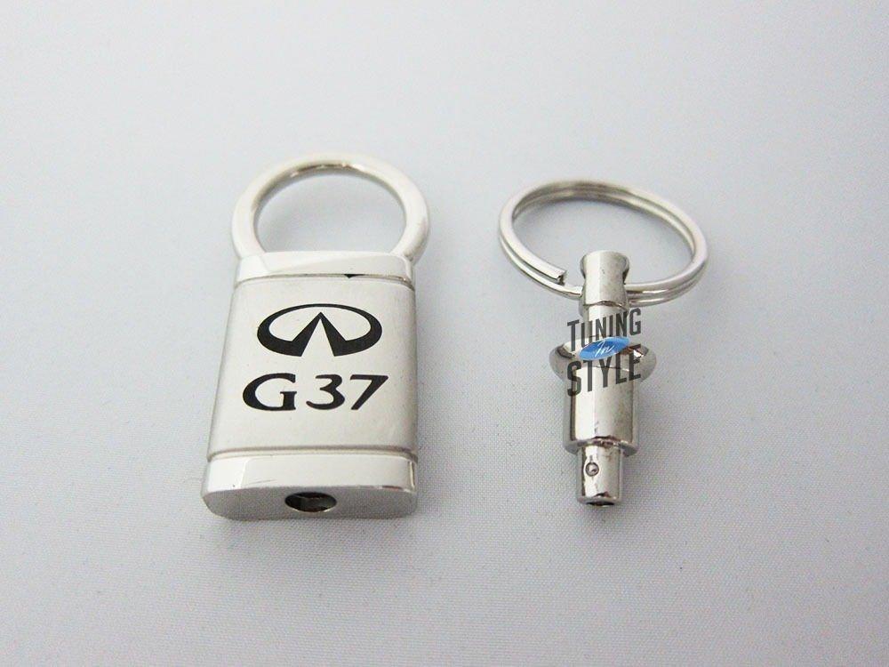 Infiniti G37 Satin-Chrome Valet Key Fob Authentic Logo Key Chain Key Ring Keychain Lanyard DanteGTS