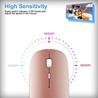Bluetooth Wireless Mouse, Dual Mode Slim Rechargeable Wireless Mouse Silent Cordless Mouse with Bluetooth 4.0 and 2.4G…