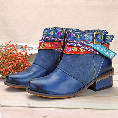 Strap Winter Women's Autumn Zipper Outdoor Warm Block Boot Flat Non Slip Blue Booties Casual Side Leather Ankle Splicing Shoes Handmade Walking Socofy Lady Heel Buckle Boots Shoes Soft tfqxIPZT