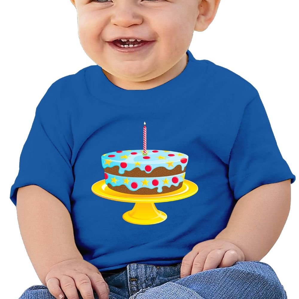 FFWWLHR Blue Birthday Cake Baby Top T Shirt Unisex Graphic Merry Christmas Cotton Baby Toddler T Shirt Tops
