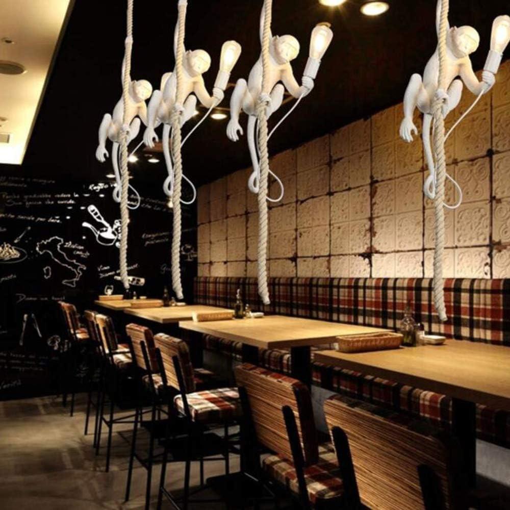 LSLVKEN Modern Creative AFFE Deckenleuchte Acryl AFFE Hanf Seil LED Kronleuchter,Hanfseil Affen-Lampen Tierpendelleuchte,Restaurant Schlafzimmer Studio Geeignet, 72Cm Hoch, E27 Glühbirne,Gold Black