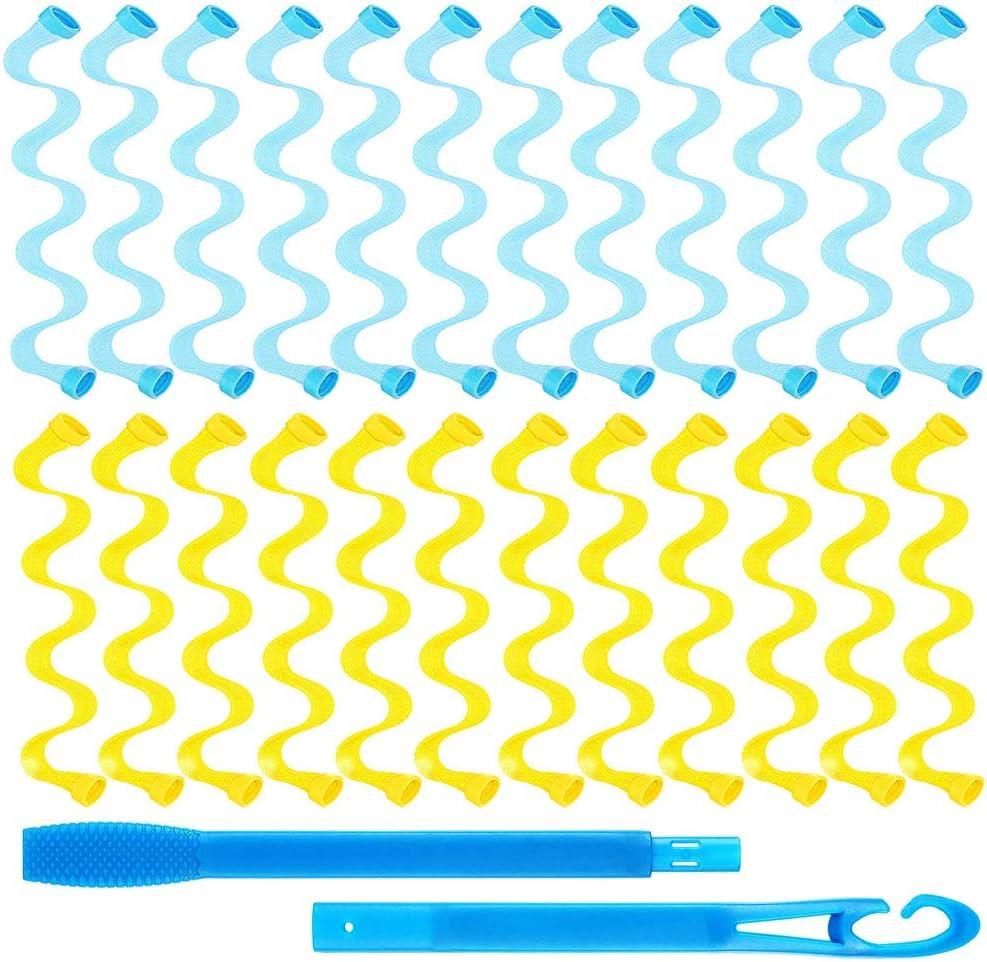 Gobesty - Rizador de pelo mágico, 24 unidades de 30 cm, estilo ondulado, rizadores de pelo en espiral, sin calor, con ganchos para peinar, rizadores de pelo: Amazon.es: Belleza