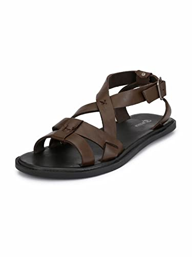 fe2f5102526 Guava Men Anti-Sweat Leather Brown Sandals  Buy Online at Low Prices in  India - Amazon.in