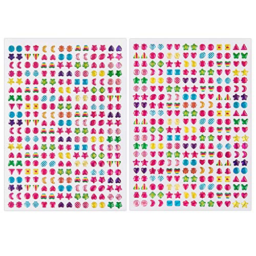 SAVITA 2000+ Stick on Earrings 3D Gem Stickers Glitter Sparkle Crystal Stickers Sticker Earrings for Girls Multiple Colors & Shapes(4 Sheet) … -