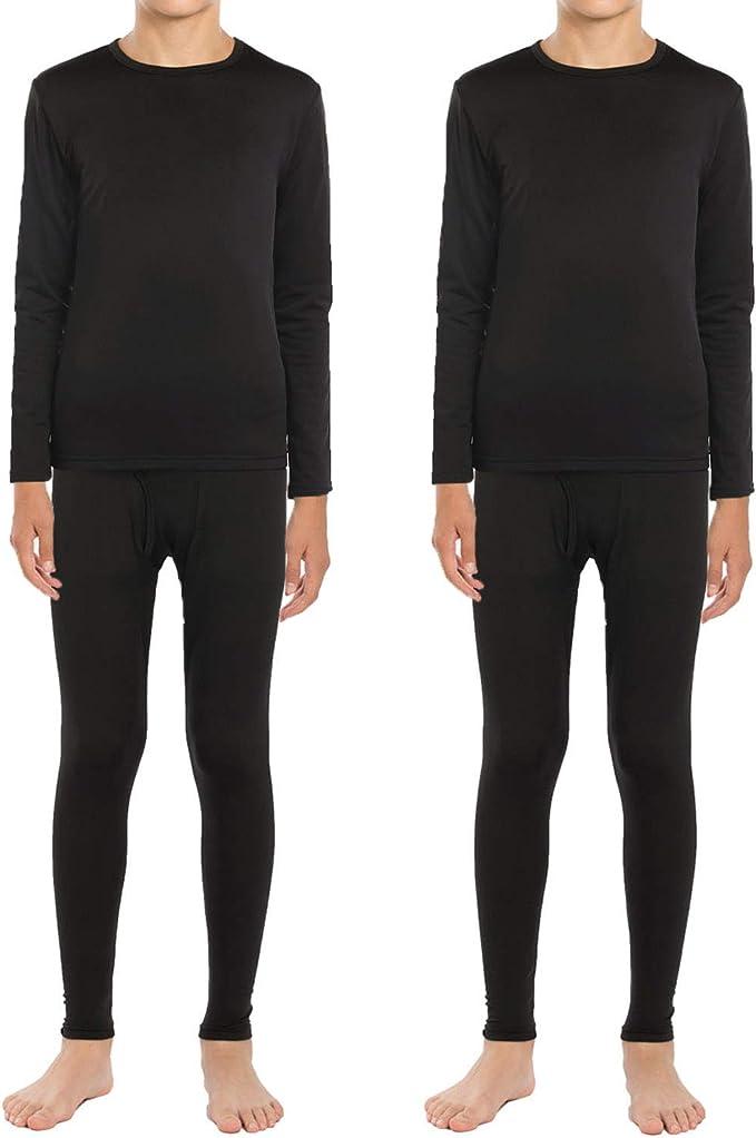 Boys Girls Thermal Underwear Long John Set Fleece Lined Base Layer Top and Bottom