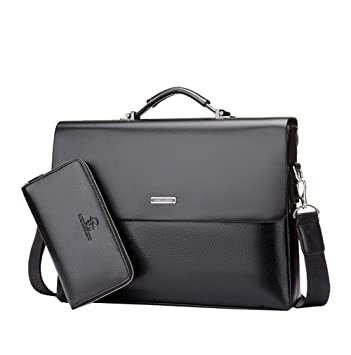 db13406d6 Mioy Bolso de Hombro de Cuero de Hombres de Moda Bolso de Mensajero Casual  Maletines Bolsas Para Portátil (Negro): Amazon.es: Oficina y papelería