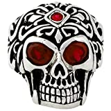 Regal Rogue Simulated Ruby Red Cubic Zirconia Eyes Skull Sterling Silver