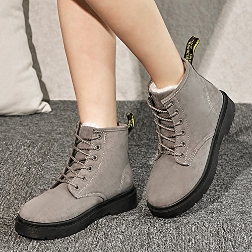 Round Platform Ankle Gray Flat High Booties Toe Snow Comfort Womens Aisun Lace Top Warm Up Fleeced ZY7CInUq