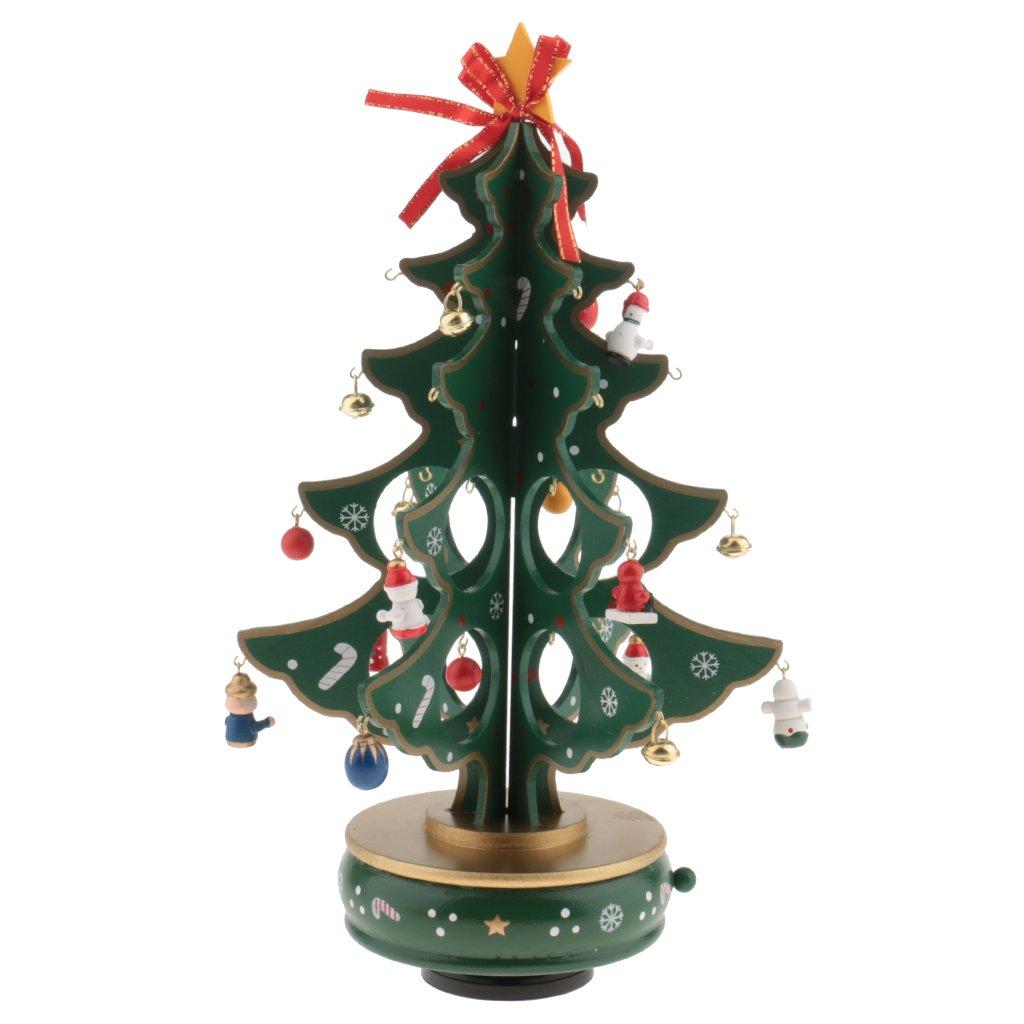 Gazechimp Handgemacht Drehbar Weihnachtsbaum Spieldose, Holz ...