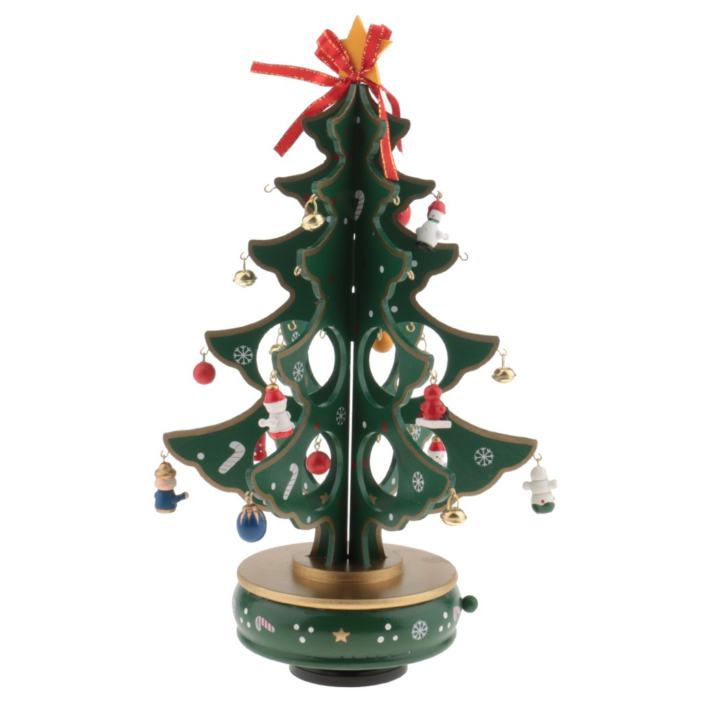 MonkeyJack DIY Christmas Ornaments Wooden Christmas Tree with Music Christmas Hanging Ornament Gifts for Children Home Xmas Table Decoration - green