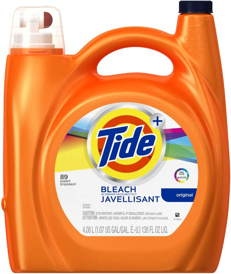 Tide Plus Bleach Alternative Liquid Laundry Detergent, 89 Loads, Original, 138 Fluid Ounce