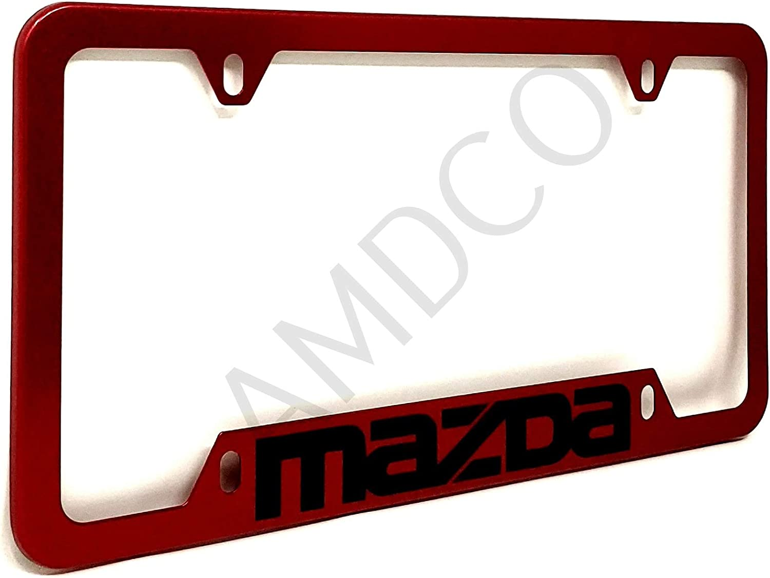 Pack of 1 AMDCO for CX 3 4 5 8 9 Speed 6 RX 8 Miata License Plate Cover Holder Frame Badge Stickers Decals with Strong 3M Includes Instructions Measure Before Purchase Fitment RED
