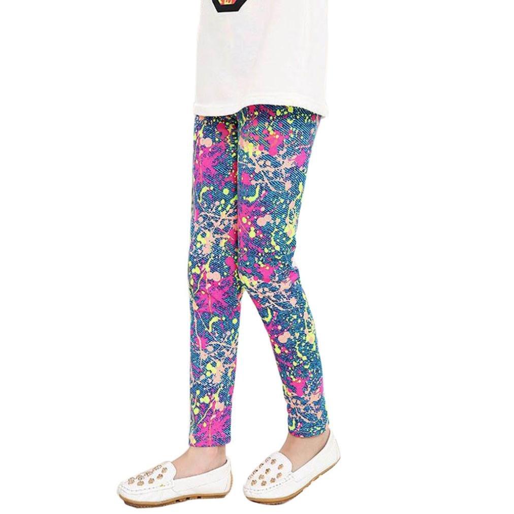 AMA(TM) Toddler Kids Baby Girls Flower Printing Leggings Pencil Pants Tights Trousers