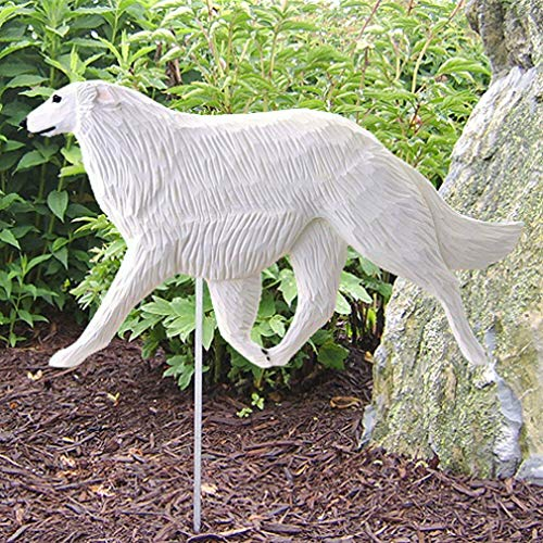 Ky & Co YesKela Borzoi Outdoor Garden Sign Hand Painted Figure White