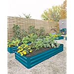"""Gardener's Supply Company Corrugated Metal Powder-Coated Steel Raised Bed, 34"""" x 68"""" Blue 7 STYLISH and STURDY- Richly hued raised bed made from sturdy yet lightweight powder-coated steel complements your landscape and showcases plants. BENEFITS- Extra deep to accommodate large plants. Lightly textured surface. Raised beds are easier to plant and tend than in-ground beds, with fewer pests and weeds. MATERIALS and MEASUREMENTS- Powder-coated steel - 68"""" L x 35-1/4"""" W x 11-3/4"""" H - Holds 17 cu. ft. of soil"""