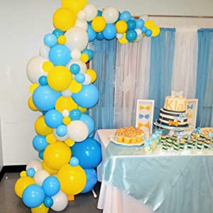 Warrenson Blue Balloon Garland Arch Blue Yellow White Colors Party Latex Balloons 10 ″ 90 Pack with 16 ft Strip for Fit for Anniversary, Birthday, Wedding, Graduation, Office,Kids' Parties