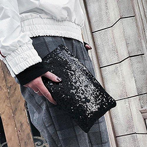 Glitter Retro Evening Fashion Bag Black Sequins Party Women Crossbody Bag Bag Envelope Clutch AFfeco BZqRa1B