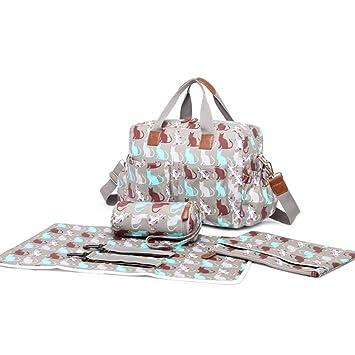 331a1382f0507 Miss Lulu Baby Nappy Diaper Changing Bag Set Large Grey Shoulder Handbag  Oilcloth / PU Leather