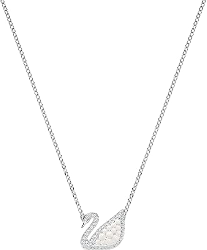 Collier emblématique cygne avec perles de cristal Swarovski