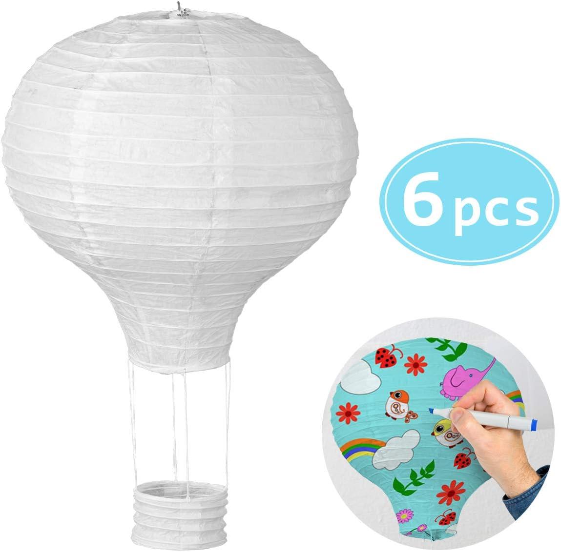 30 cm F/ête Mariage LIHAO 6pcs Lampion Papier Montgolfi/ère Lanterne Papier Blanc Pour D/écoration Anniversaire