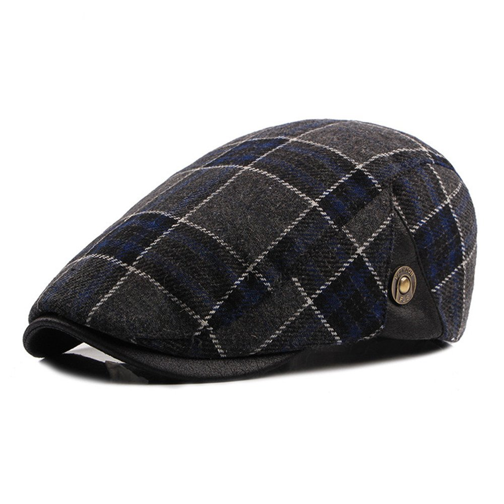 Flat Cap Cotton Men Winter Plaid Vintage Newsboy Gatsby Ivy Caps Irish Hats DH1612B