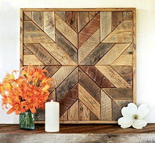 Reclaimed wood star quilt block wall art - 26 inch (Art Wall Quilt)