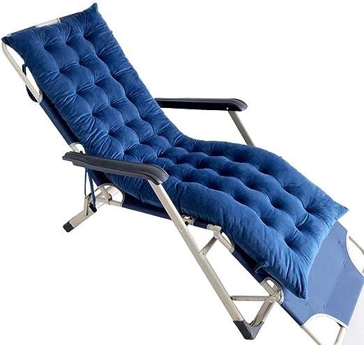 Cushion Cojines para tumbonas, Cojines para Muebles de jardín - Patio de jardín portátil Cama Acolchada Gruesa Silla reclinable Silla de Descanso Funda Flannel Dark Blue-155 * 48 * 8cm: Amazon.es: Hogar