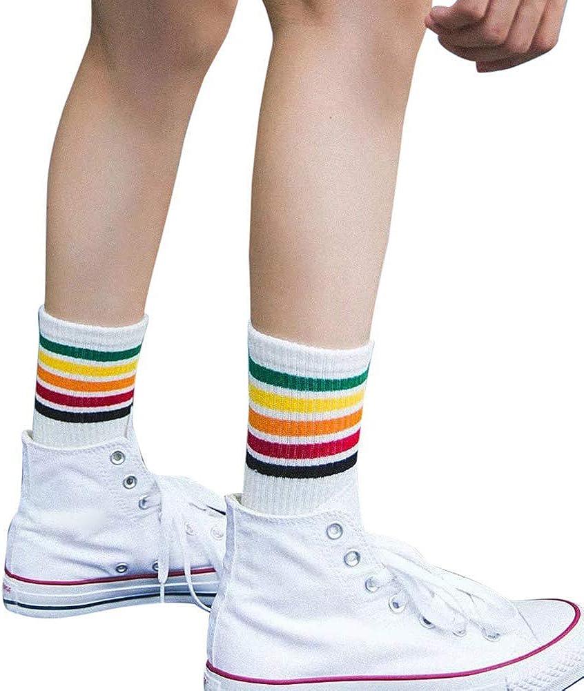 XdiseD9Xsmao Unisex Fashion Weiche Schwei/ßabsorbierende Sportsocken Mit Mittlerer R/öhre Strapazierf/ähige Regenbogen-Socken Aus Baumwolle Mit Gestreiftem Druck Elastische