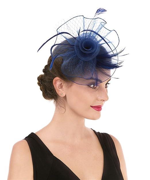 Lucky Leaf Muchacha de las mujeres tocado pinza de pelo horquilla sombrero  de la boda cóctel de la boda Tea Hat (2-Azul zafiro)  Amazon.es  Ropa y ... 306493eb3f37