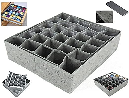 30 Grid Cell Foldable Closet Drawer Organizer Divider For Underwear Tie Bra Sock