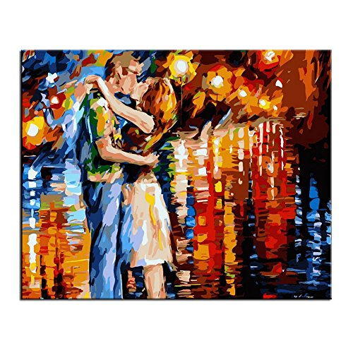 Rihe Diy Oil Painting, Paint by Number Kit-Kissing 16x20inch (With DIY Frame)