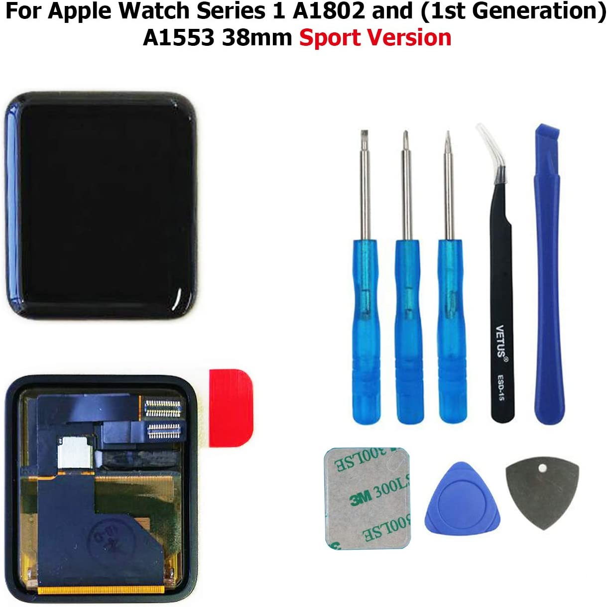 Swark LCD Display Compatible with Apple Watch Series 1 A1802 and (1st Generation) A1553 38mm Sport Version LCD Screen and Digitizer Assembly Tools