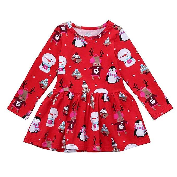 Vestido de Invierno Manga Larga, Bebé de Invierno niña Vestidos de Navidad Princesa Ropa de Estampado Floral Muñeco de Nieve Pinguino Venado Gusspower: ...