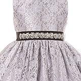 Little Girls Lace Taffeta Jeweled Belt Sash Flowers Girls Dresses