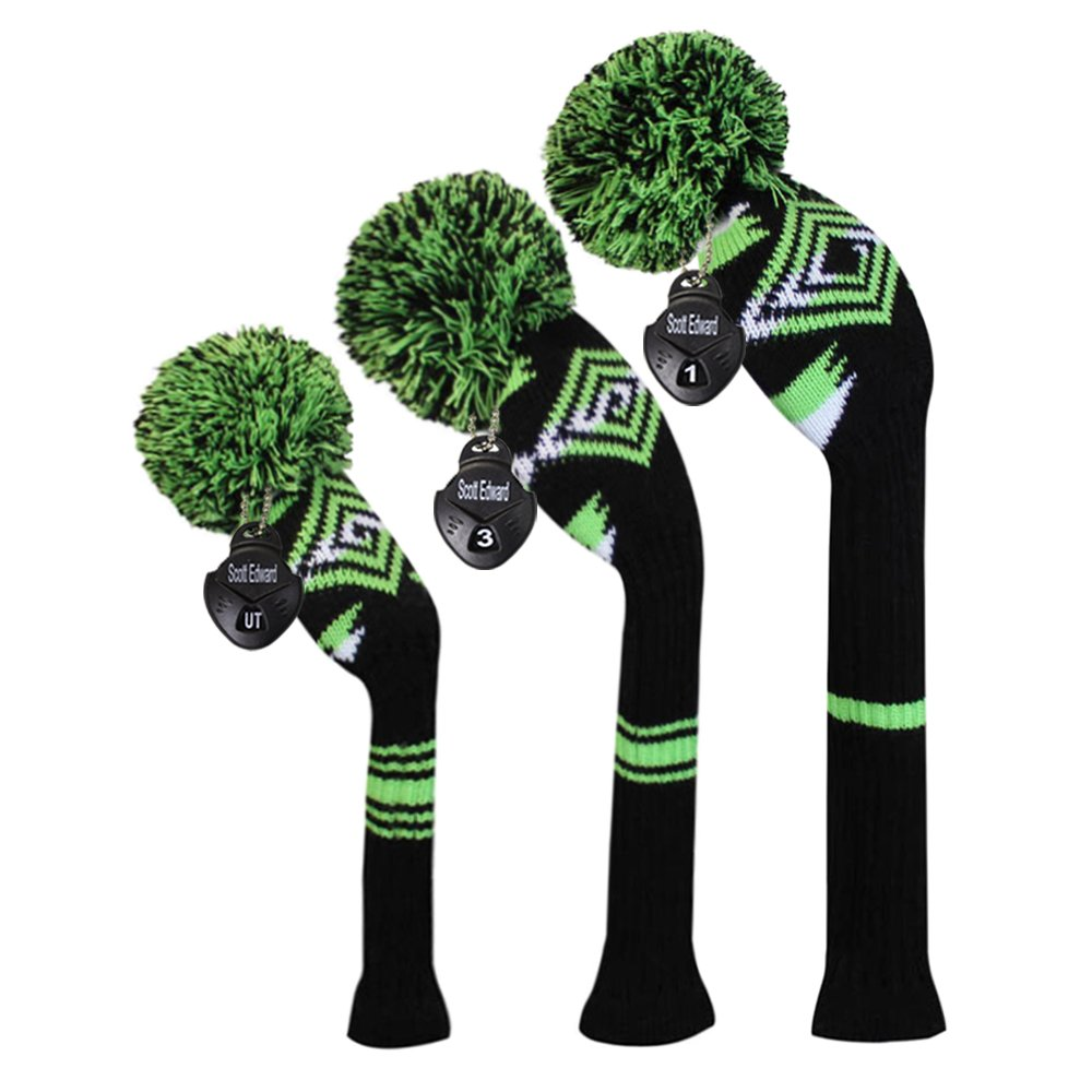 Scott Edward Individualized Abstract Pattern, Green Black White Golf Pom Pom Headcover Set of 3 for Driver/ Fairway/ Hybrid, with Rotating Number Tags