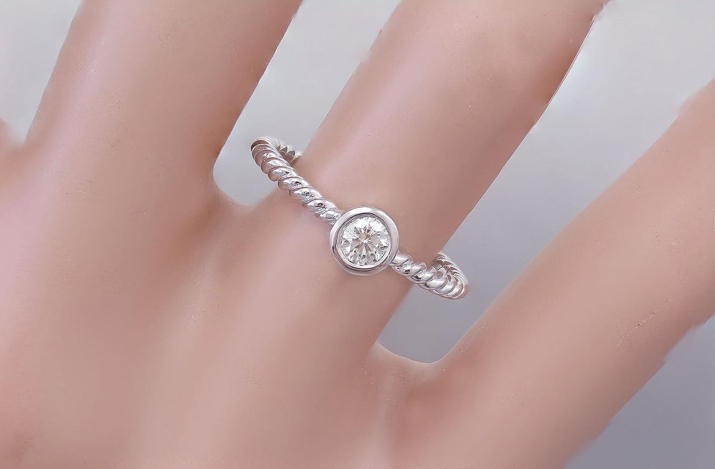 Amazon.com: 14K White Gold Round Cut Diamond Engagement Ring Braided ...