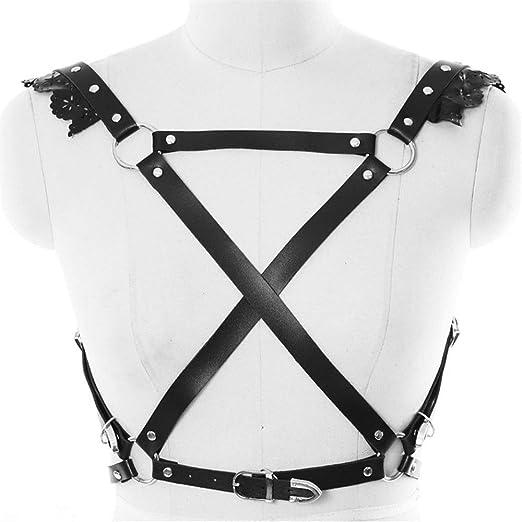 Arnés sujetador Mujeres Punk Gothic Leather X-body Body Arnés del ...