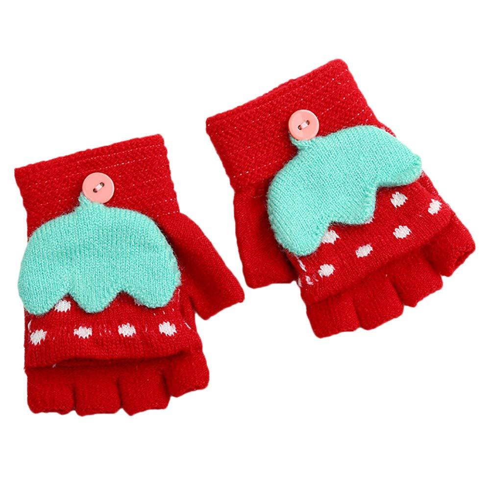 Children Winter Gloves, Minshao Girls Boys Cartoon Umbrella Patchwork Keep Warm Mittens Gloves for 2~4 Years Old (Red)