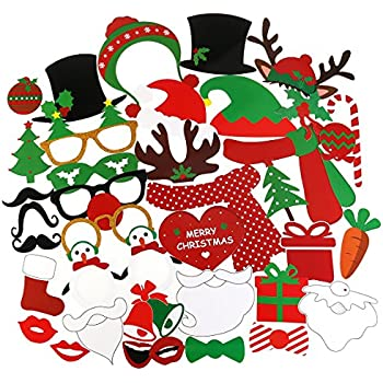 Amazon tinksky 62 pcs 2018 new years photo booth props for new tinksky 38pcs christmas photo booth props kit on a stick for party supplies with glasses moustache red lips deer horn santa hat solutioingenieria Images