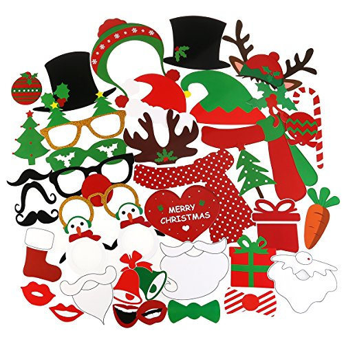 Tinksky 38Pcs Christmas Photo Booth Props Kit on a Stick for Party Supplies with Glasses Moustache Red Lips Deer Horn Santa Hat ()